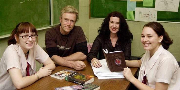 Paul Collins and Isobelle Carmody at Kirwan State High in Townsville.